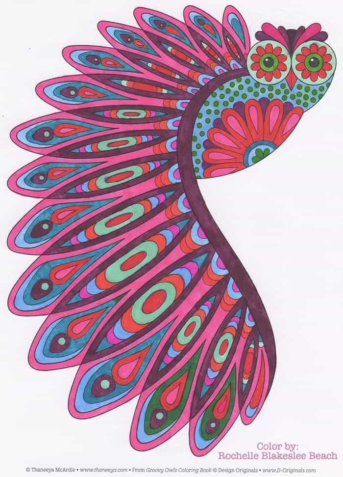 Retro Flying Owl Coloring Page by Thaneeya