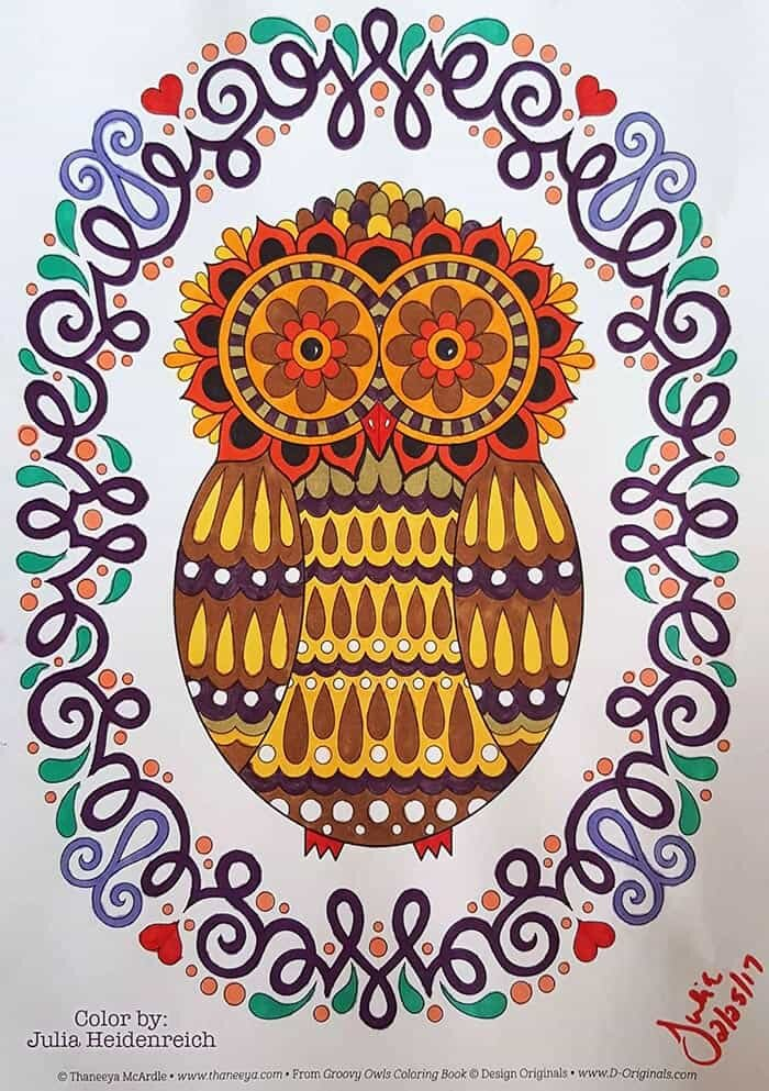 Retro Owl Coloring Page Art by Thaneeya