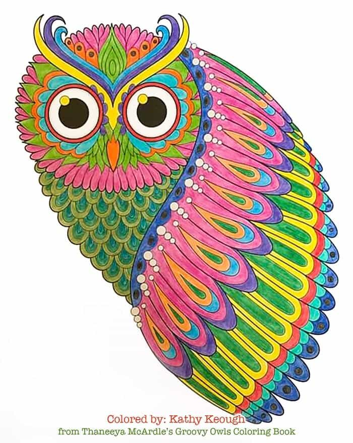 Technicolor Owl Coloring Page by Thaneeya McArdle