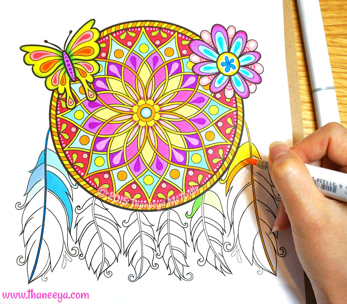 Coloring a dreamcatcher coloring page from my  Free Spirit coloring book  with Copic Sketch Markers