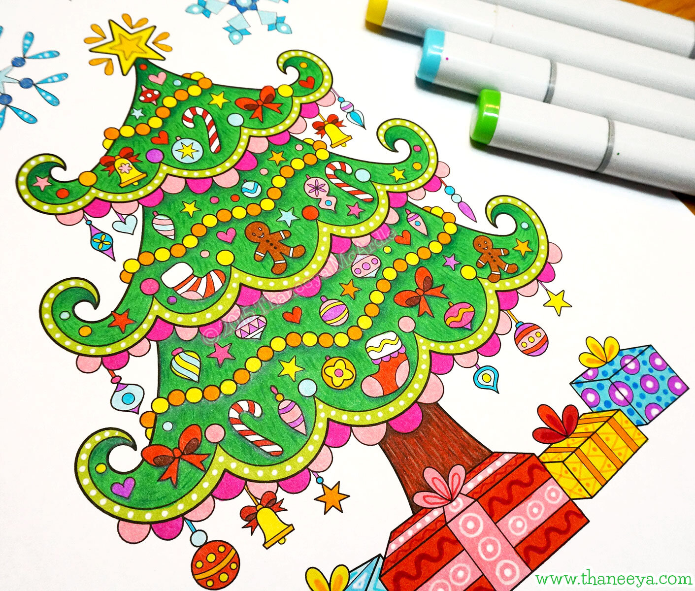 Christmas tree coloring page from my small portable-size  Color Christmas Coloring Book