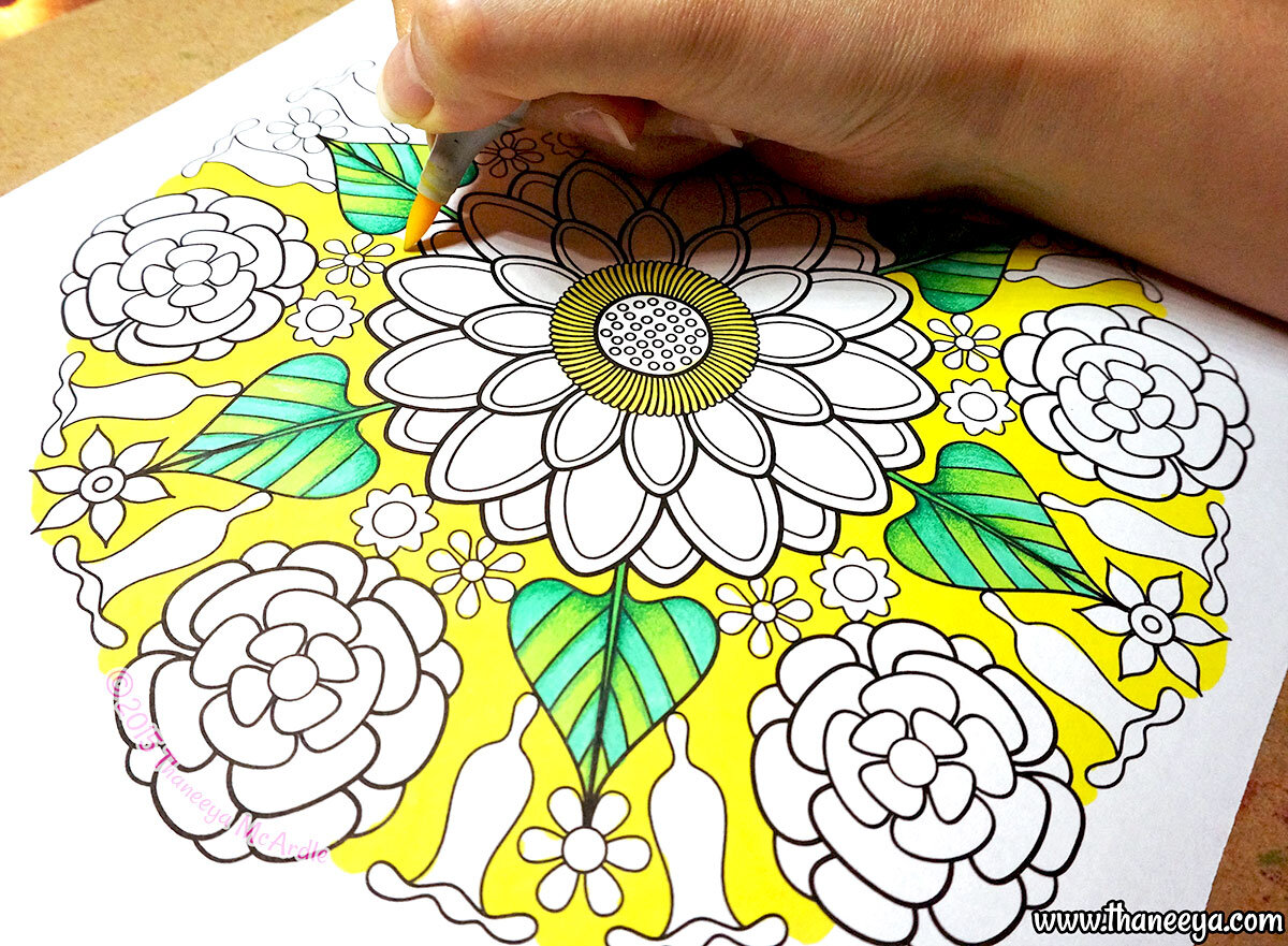 Coloring a page from my  Flower Mandalas Coloring Book