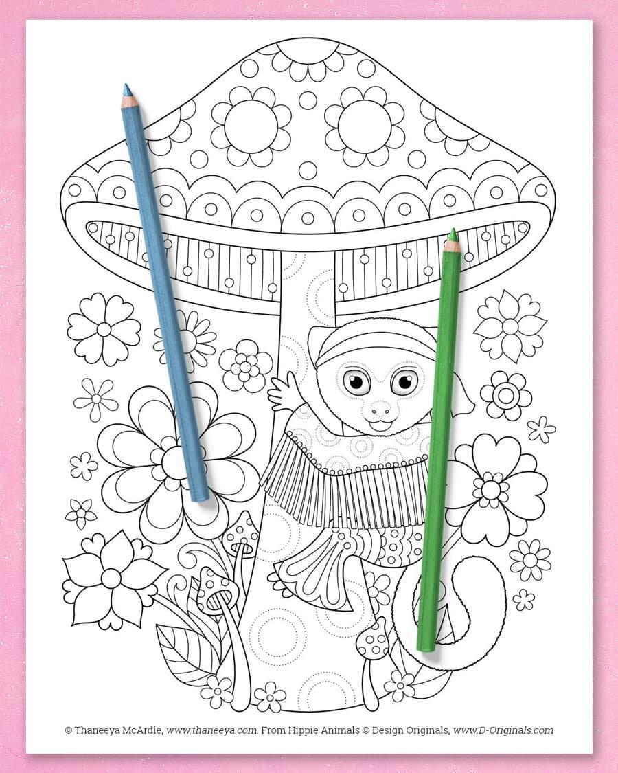 Hippie Animals Coloring Book By Thaneeya Mcardle Thaneeya Com