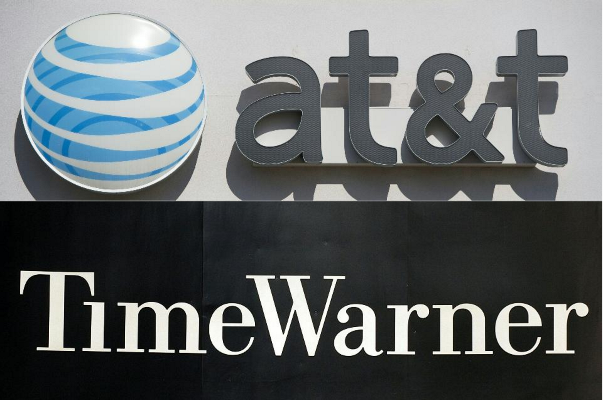 (COMBO) This combination of pictures created on October 21, 2016 shows AT&T cellphone store in Springfield, Virginia, on October 23, 2014. And the Time Warner company logo on the front of the headquarter building, 24 November, 2003, in New York.  (Photo credit:SAUL LOEB,STAN HONDA/AFP/Getty Images)