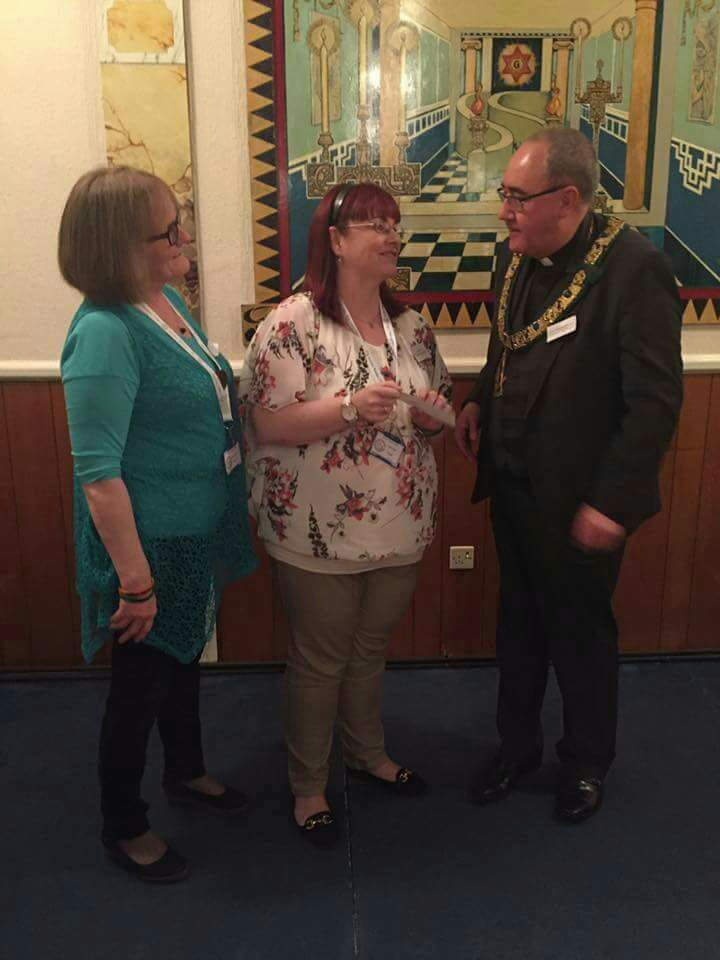Morag Duff. Liza Quin and the Provincial Grand Master of Fife and Kinross Brother Rev Andrew Paterson .