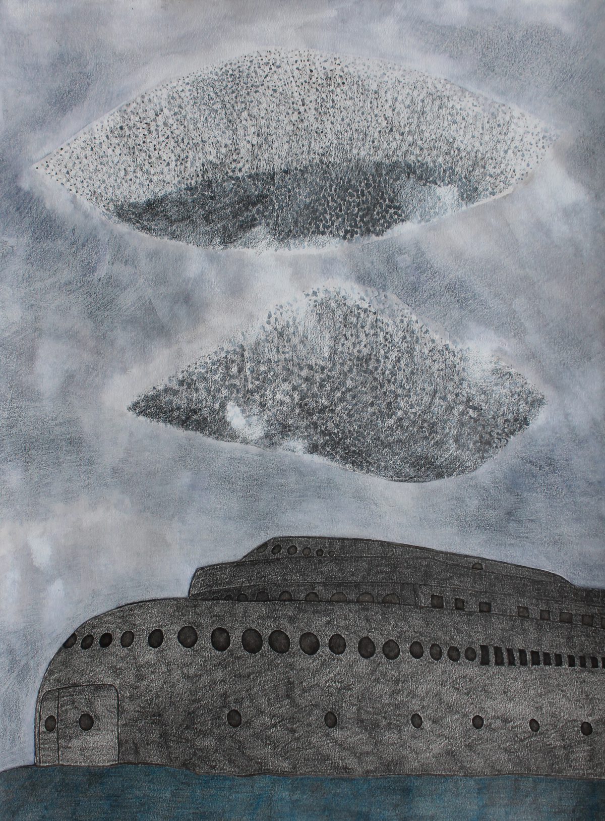 Outside , 2012, ink and graphite on paper, 14 x 11 inches