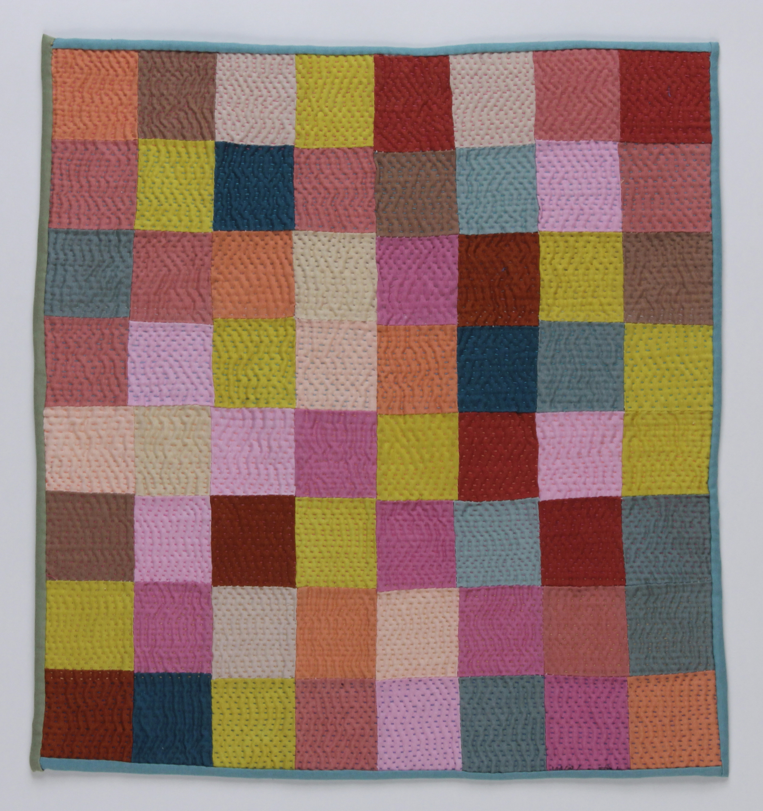 color study II, dyed fabric, pieced and quilted by hand, 2015