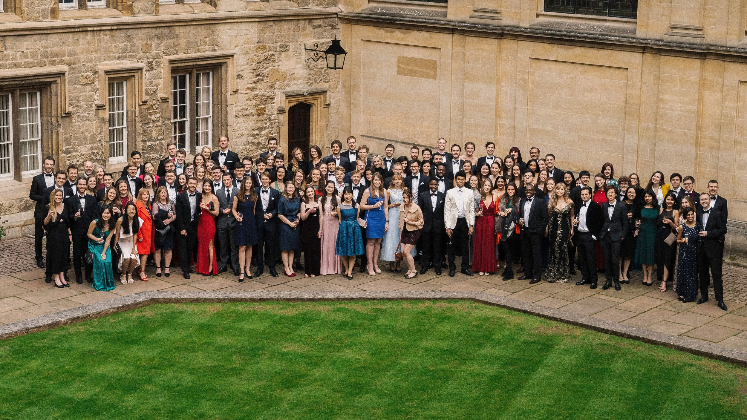 Attendees of the 2019 MCR Charity Gala Dinner pose during the drinks reception   Photographer: Izzy Romilly