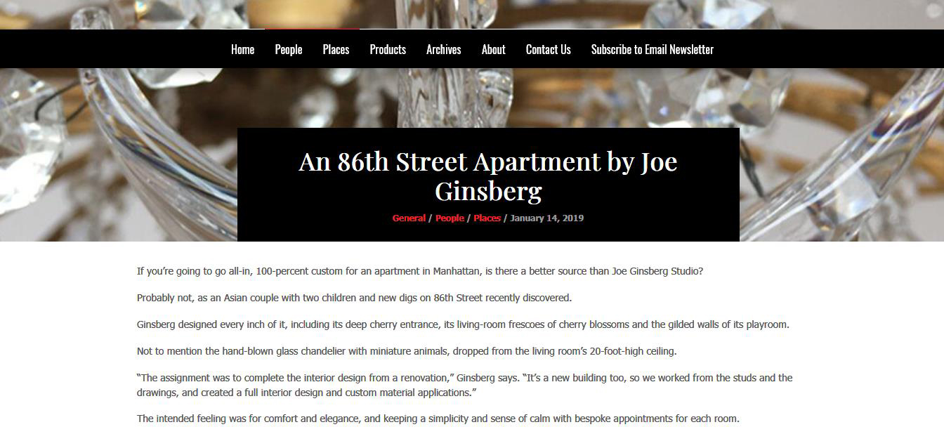 Hospitality Designer New York, NY | Joe Ginsberg Design| 10013