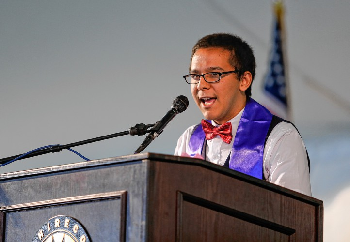 Xavier Torres de Janon delivering his speech at the 2016 Hampshire College commencement.  Source