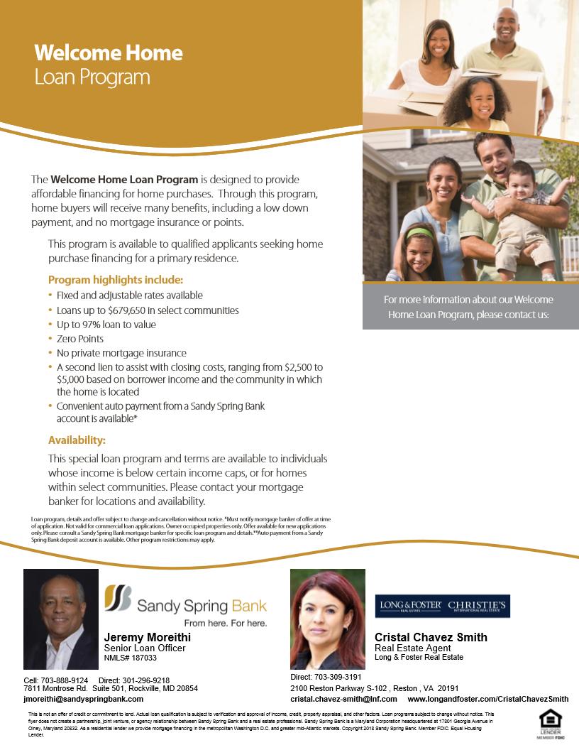 Welcome Home Loan Program