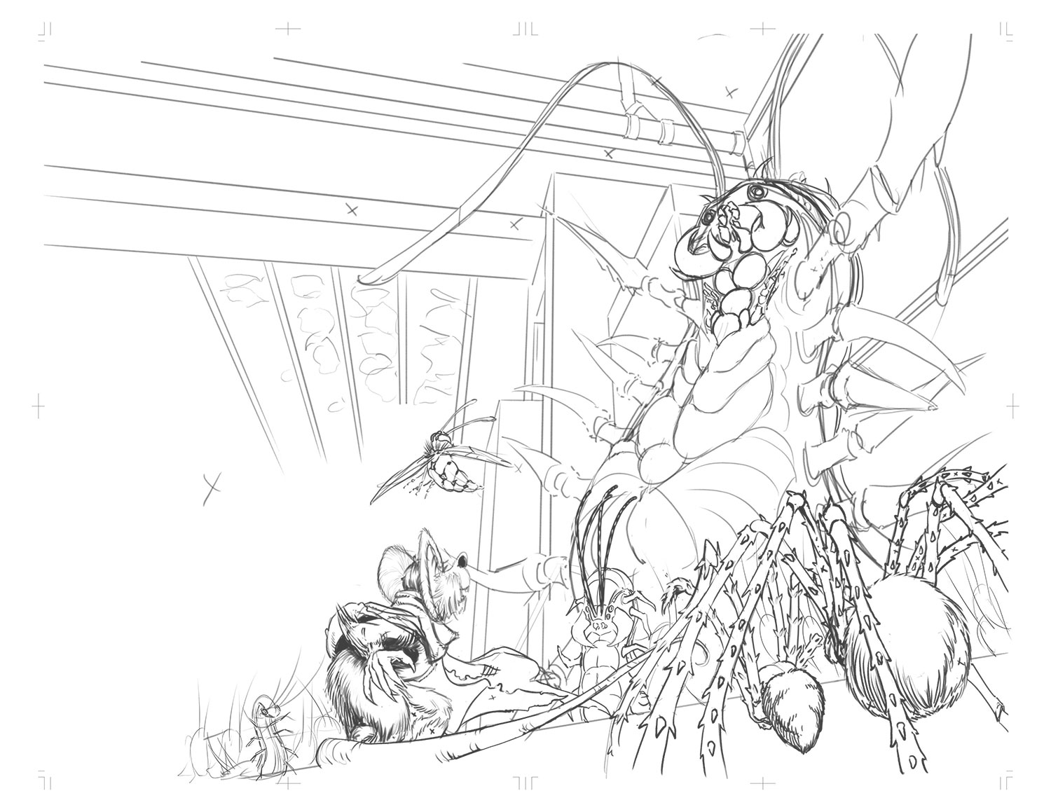 Here's the final spread as digital pencils. Details have been added in for all the hero characters. Some changes were made with the spiders and centipedes. Some background centipedes were also added in to populate the scene. From here it is converted to bluelines and printed to be traditionally inked.