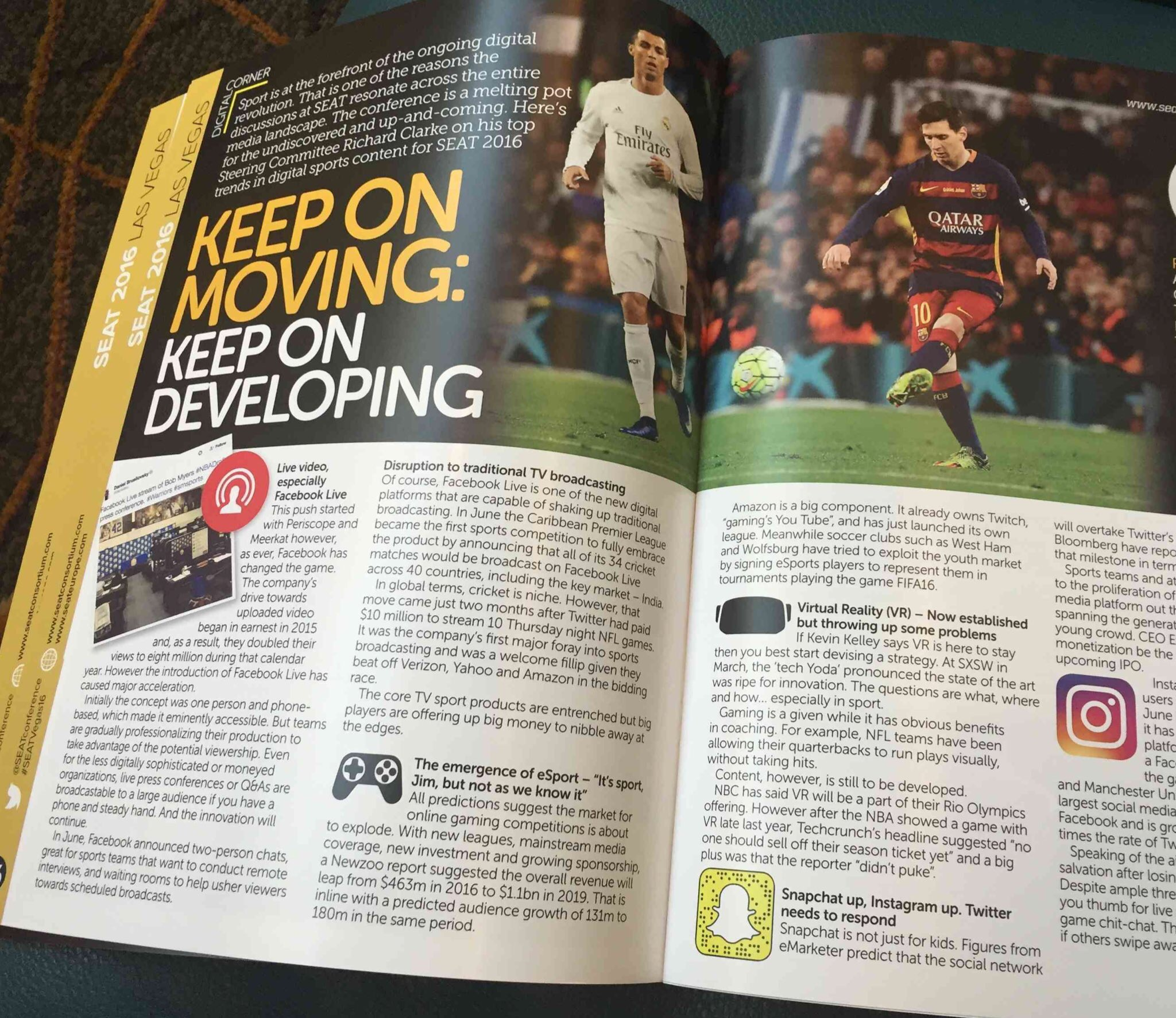 The spread in the SEAT/FC Business magazine