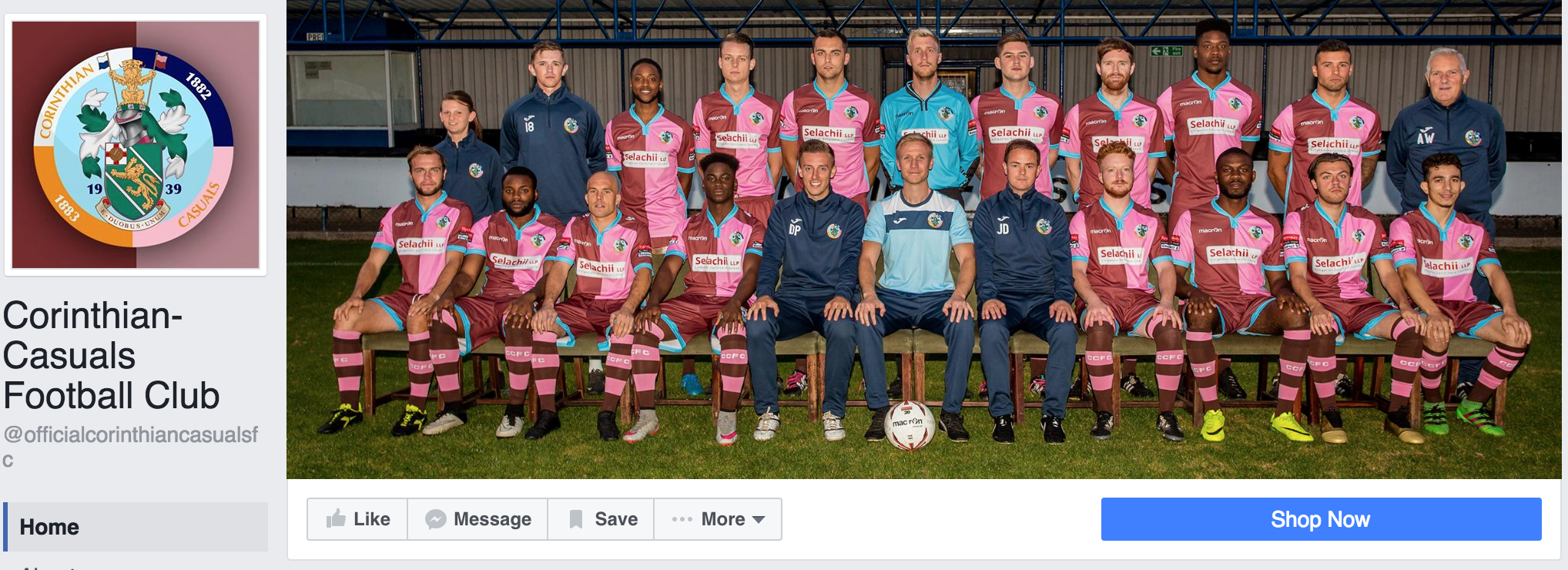 The current Corinthian Casuals Facebook page