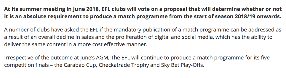 EFL's statement on the reasons for this summer's vote.