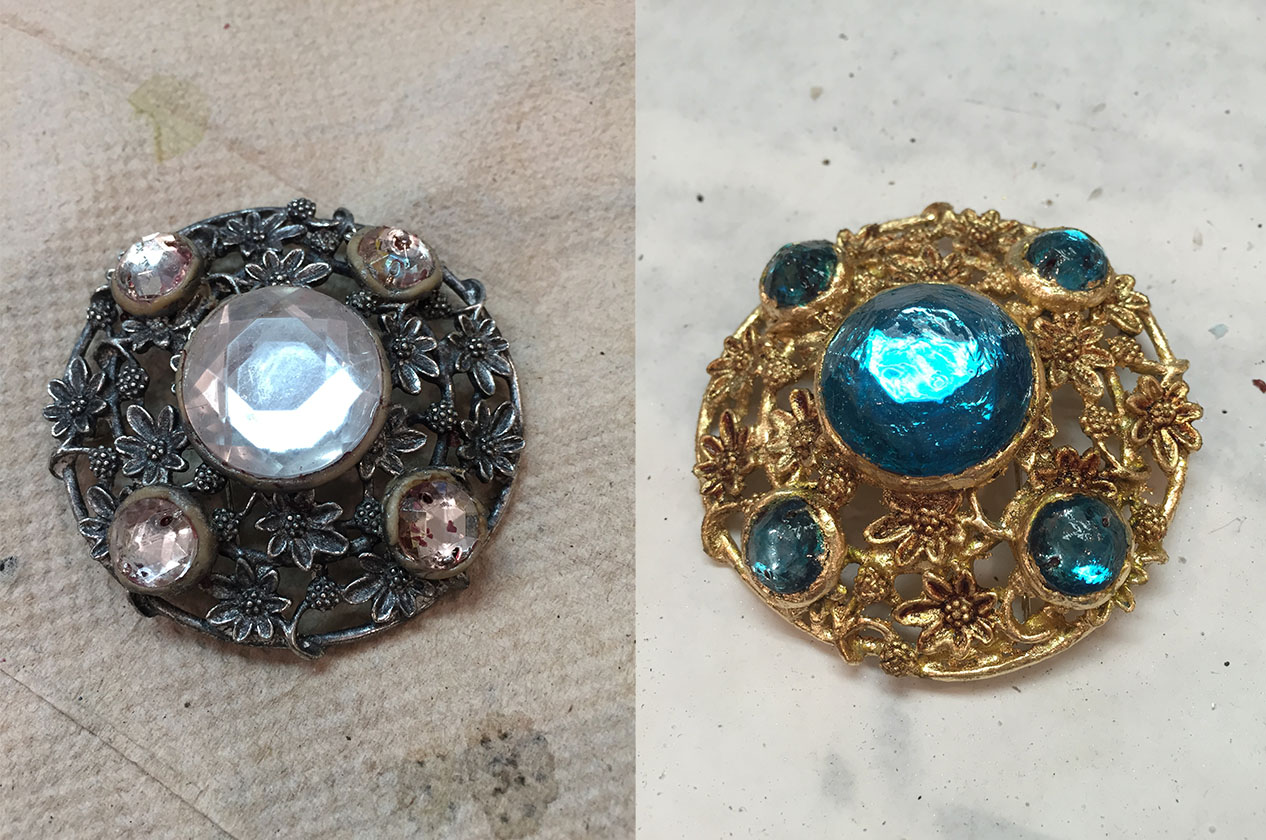 Broach refinished for Oregon Shakespeare Festival's costume craft department. Gold leafing, glass paint, and leather dye.