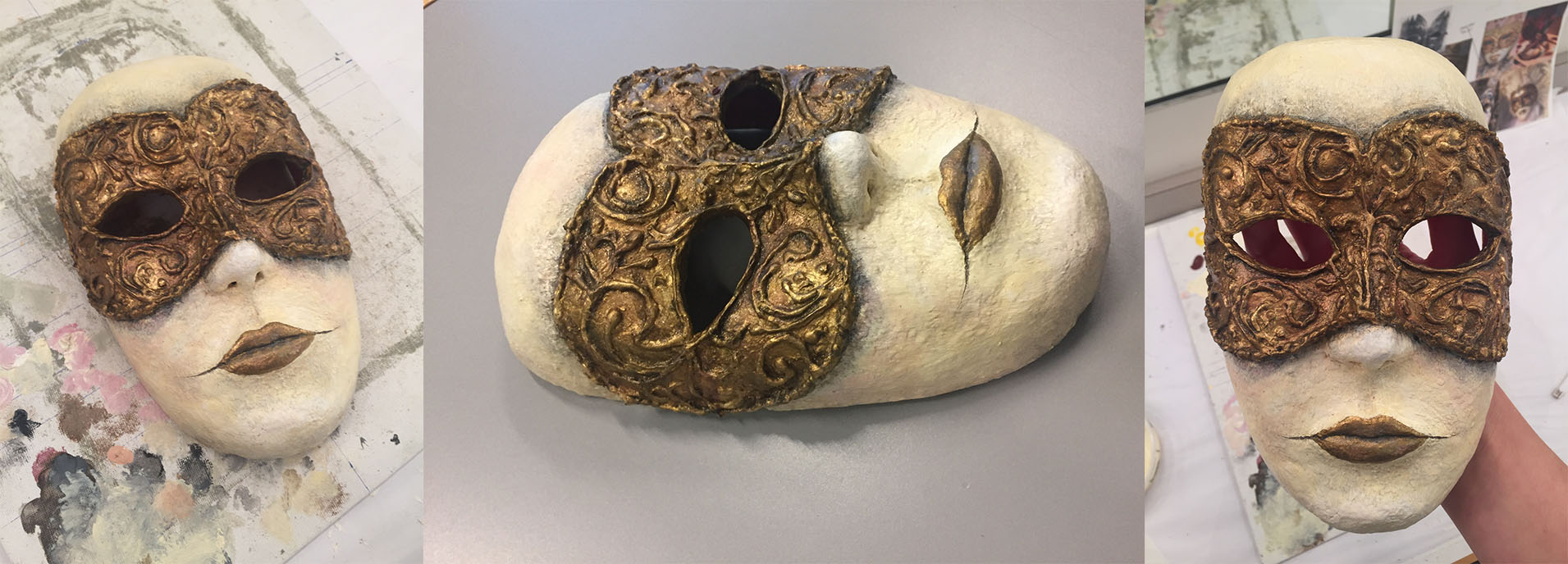 Paper mache mask making process part 2. painted with gold leaf and acrylic paint. Sealed with bee's wax and tar mixture.