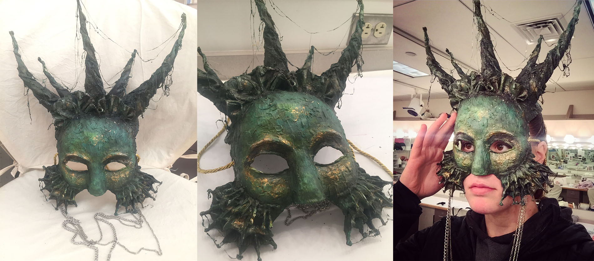 Wonderflex mask with hot glue and Joint Compound, finished with gold leading and acrylic paint. Sealed with a bee's wax and tar mixture
