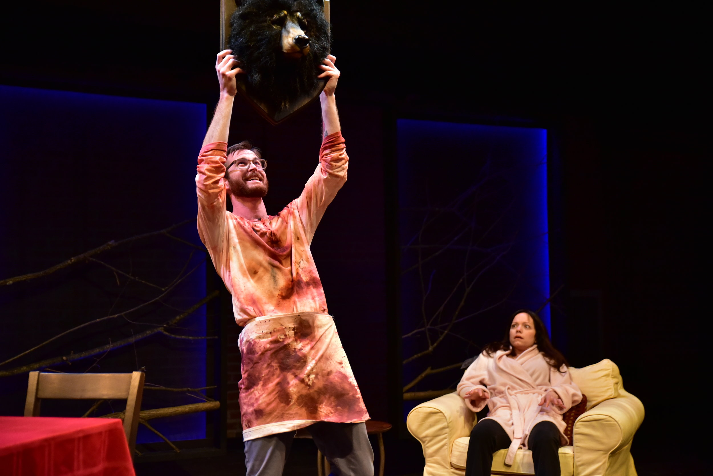 Production photo of the distressed shirt in Indiana University's production of Berserker. 2016.