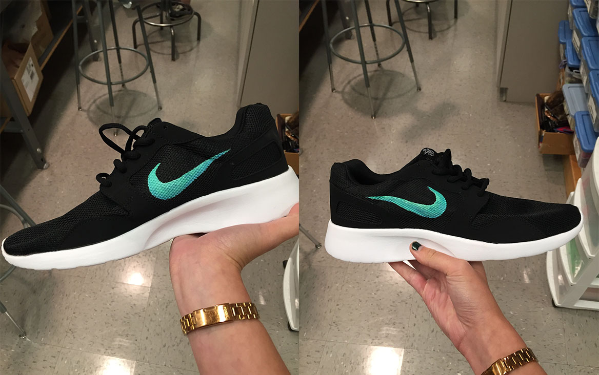 Fake Nike shoes made from $20 Amazon shoes for Indiana University's production of Vanya and Sonia and Masha and Spike.