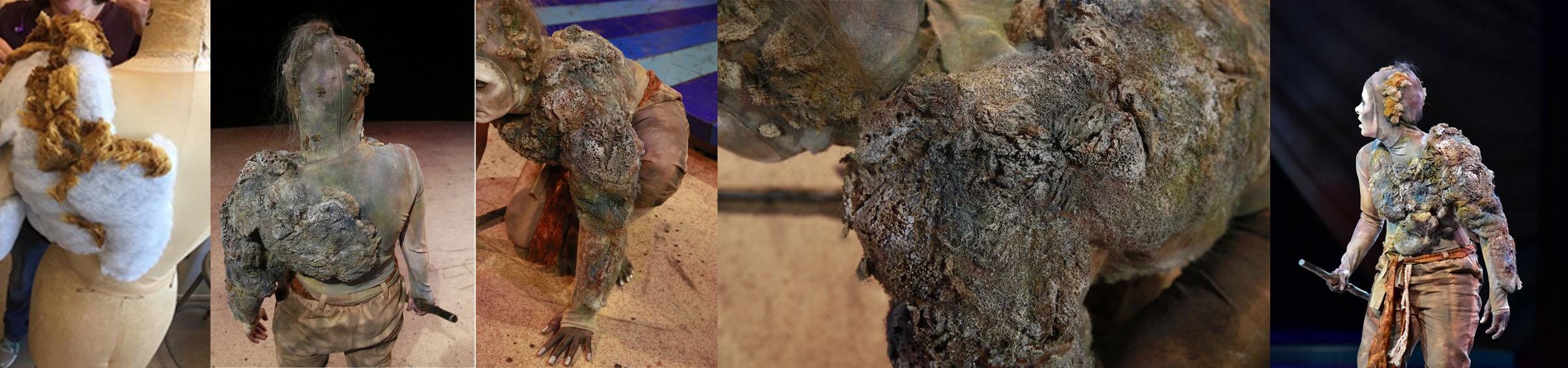 Close up photos of Caliban's growth