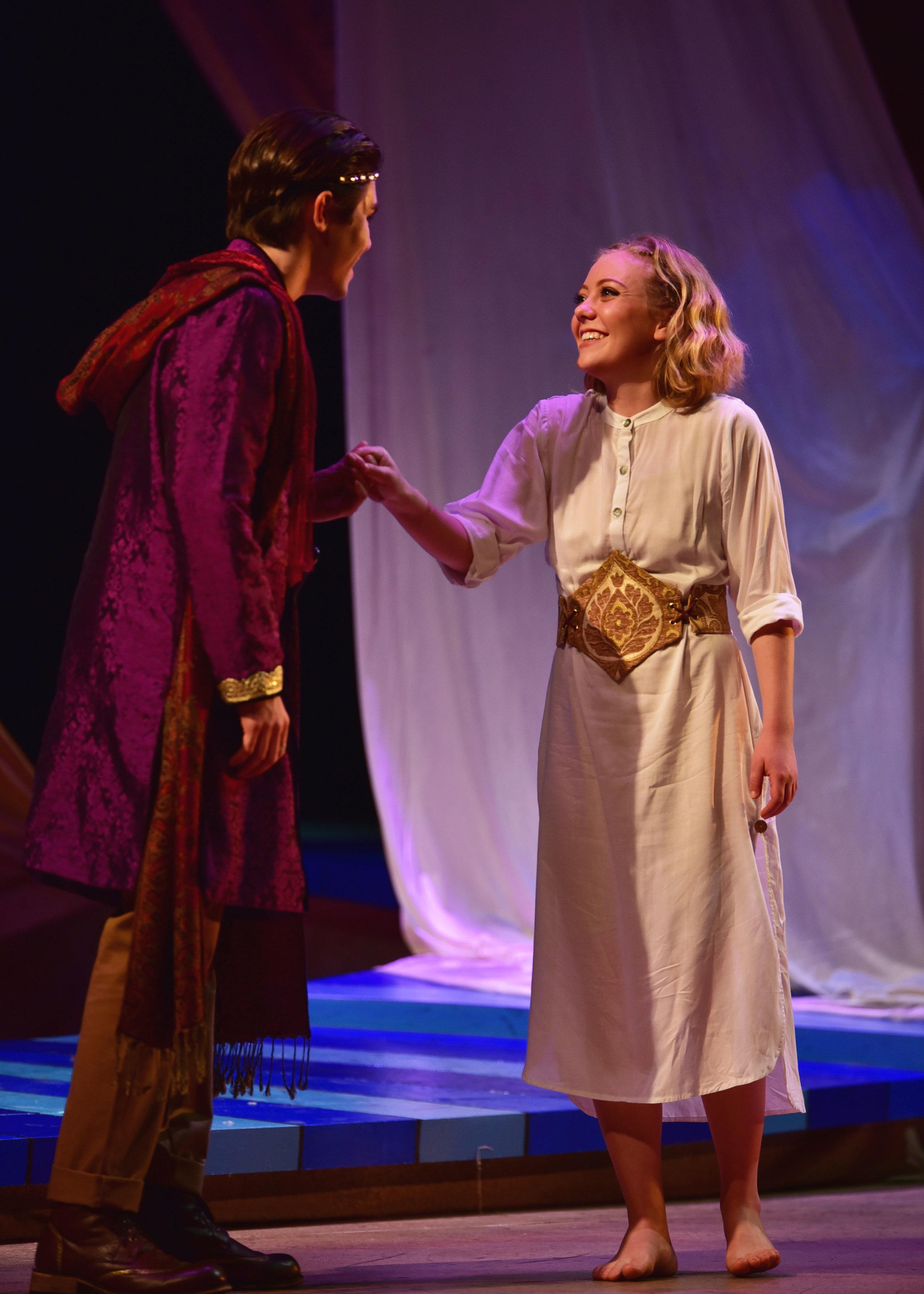 Devin May as Ferdinand and Erin Logan as Miranda. Photo by: Courtney Foxworthy
