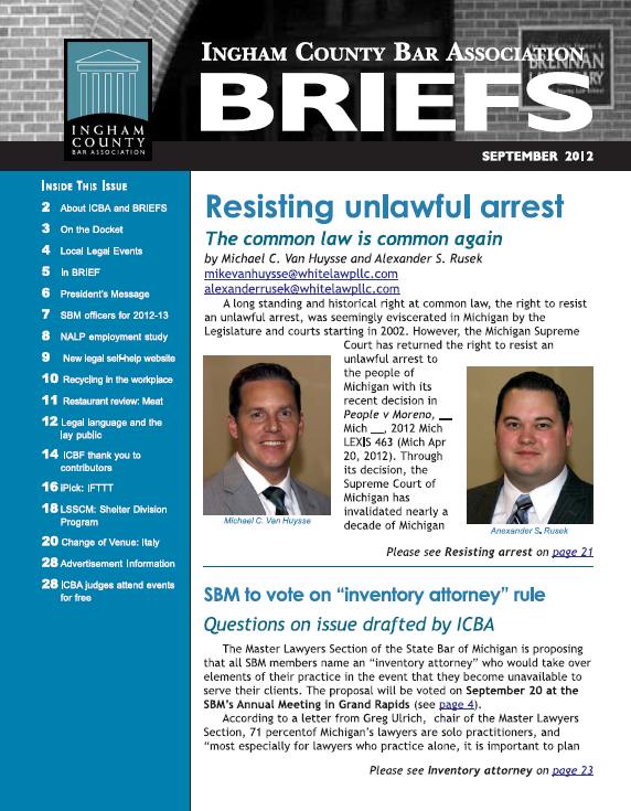 September 2012 Ingham County Bar Association BRIEFS