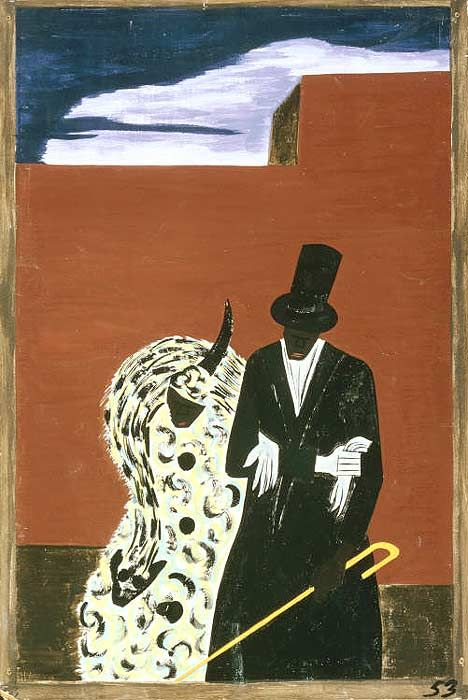 Jacob Lawrence, The Migration Series  (1940-1941), Panel 53:The Negroes who had been North for quite some time met their fellowmen with disgust and aloofness.