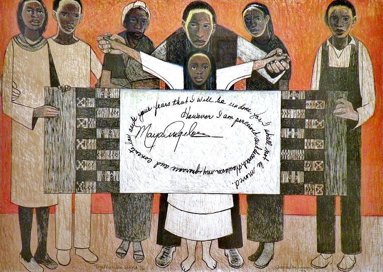 Together We Stand  , Samella Lewis,Lithograph (Hand Embellished), 22 x 30