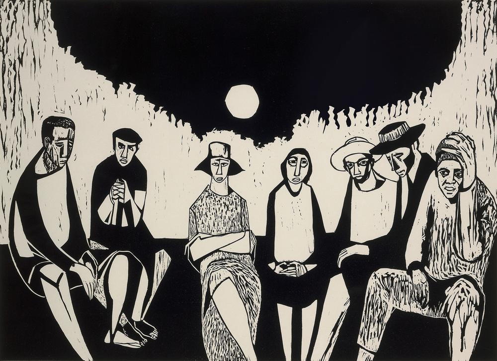 Migrants, 1968,linocut print,18 x 24 inches; 45.7 x 61 centimeters
