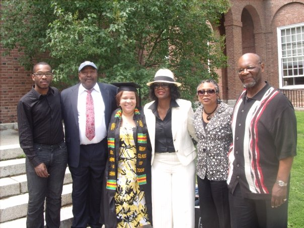 Latria and her family at her college graduation