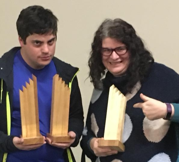 Andrew Tomazos and Sharon Maine with the trophies from Seymour OAPF