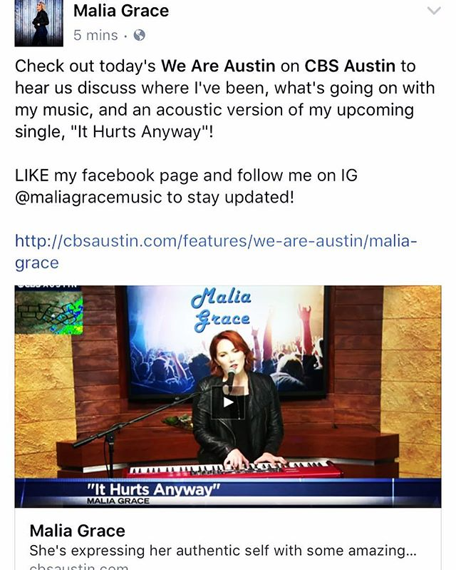 "Link in BIO! LIKE my facebook page and follow me on IG to stay updated! Check out today's @weareaustin on @cbsaustin to hear @trevorscottatx and I discuss where I've been, what's going on with my music, and an acoustic version of my upcoming single, ""It Hurts Anyway""! Thanks for having me on the show!"