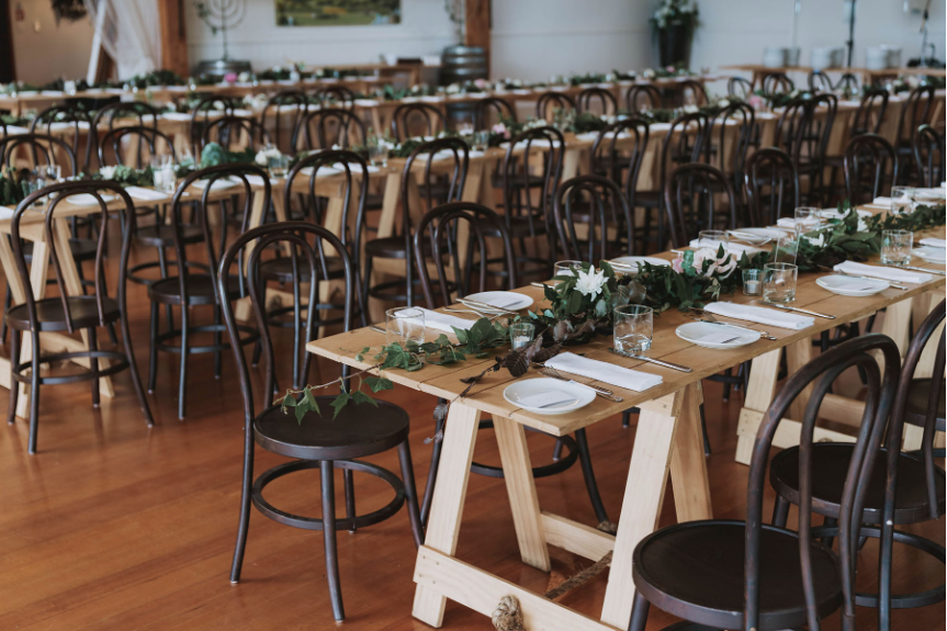 Wedding Marquee & Furniture Hire. Wooden Trestle Tables & Chairs, Tauranga