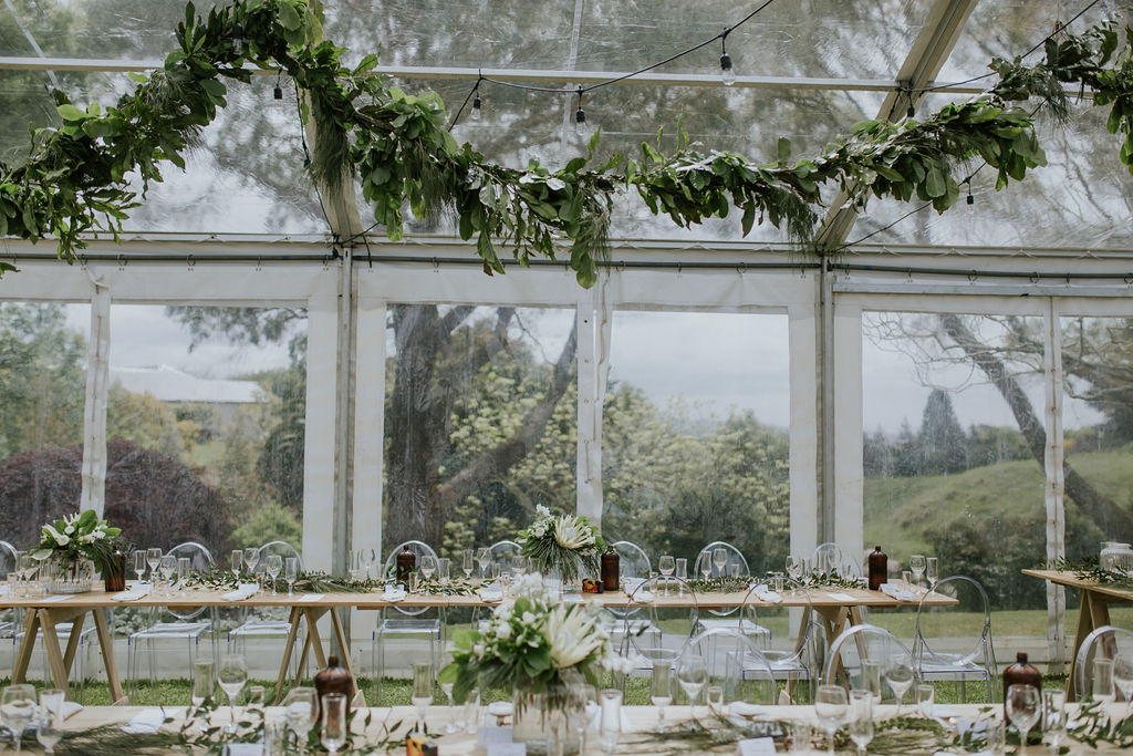 Wedding Marquee & Furniture Hire. Wooden Trestle Tables and Chairs at Reception, Tauranga.
