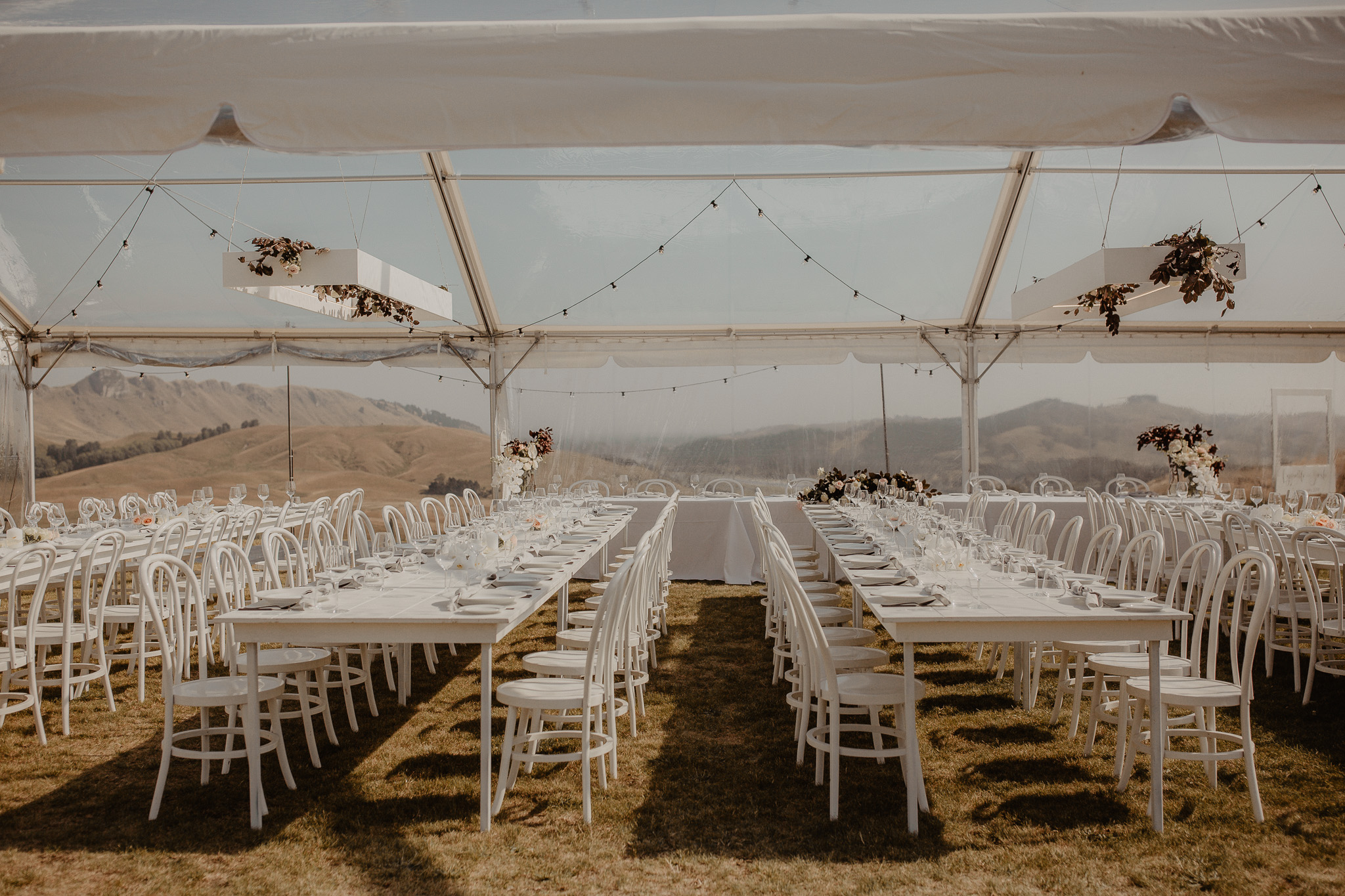 Wedding Marquee & Furniture Hire. Lynell & Josh's Wedding, Inside the Marquee. Hawkes Bay.
