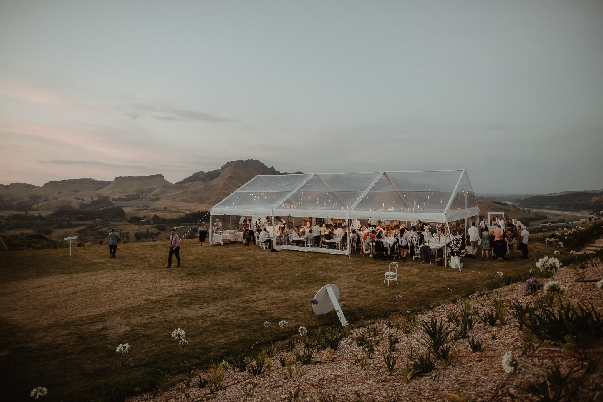 Wedding Marquee & Furniture Hire. Lynell & Josh's Clear Wedding Marquee, Hawkes Bay.
