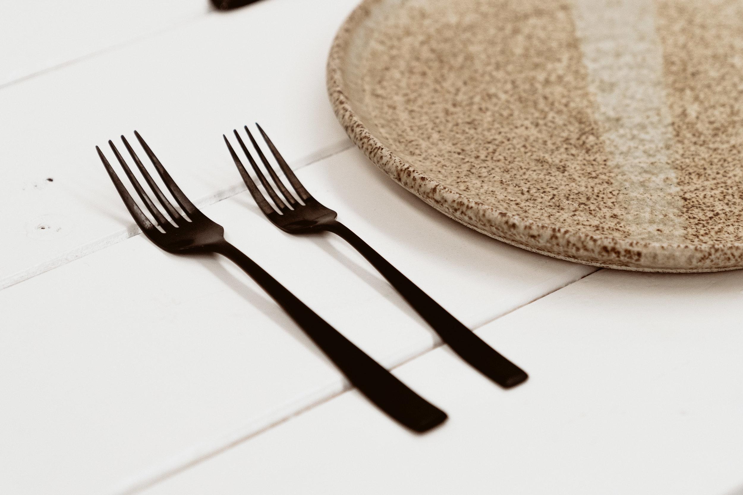 Wedding Hire, Tableware, Black Matte.