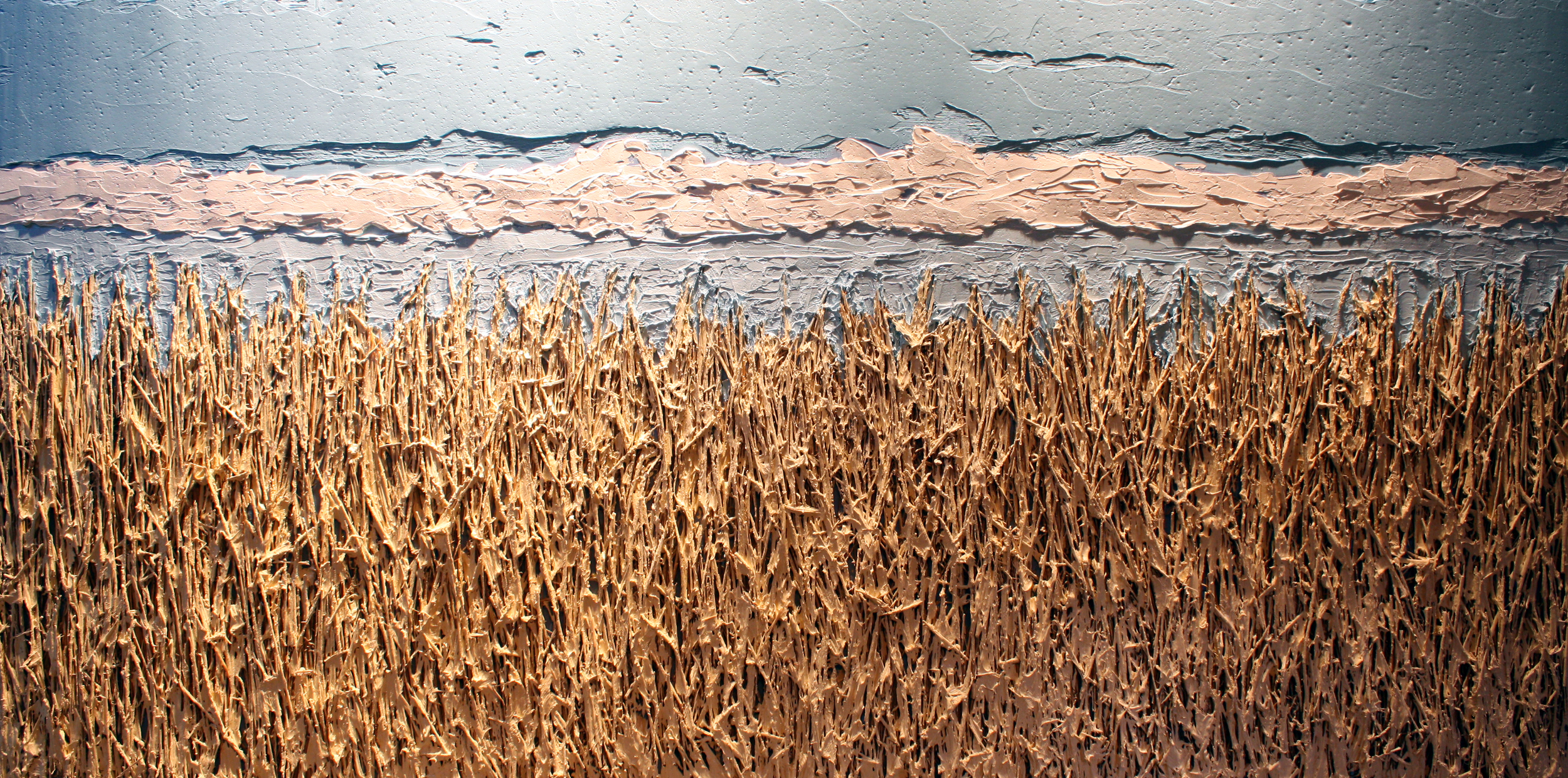 Untitled No.3  |  Field and Fences Collection  |  8 x 4 feet  | Mixed media on wood panel