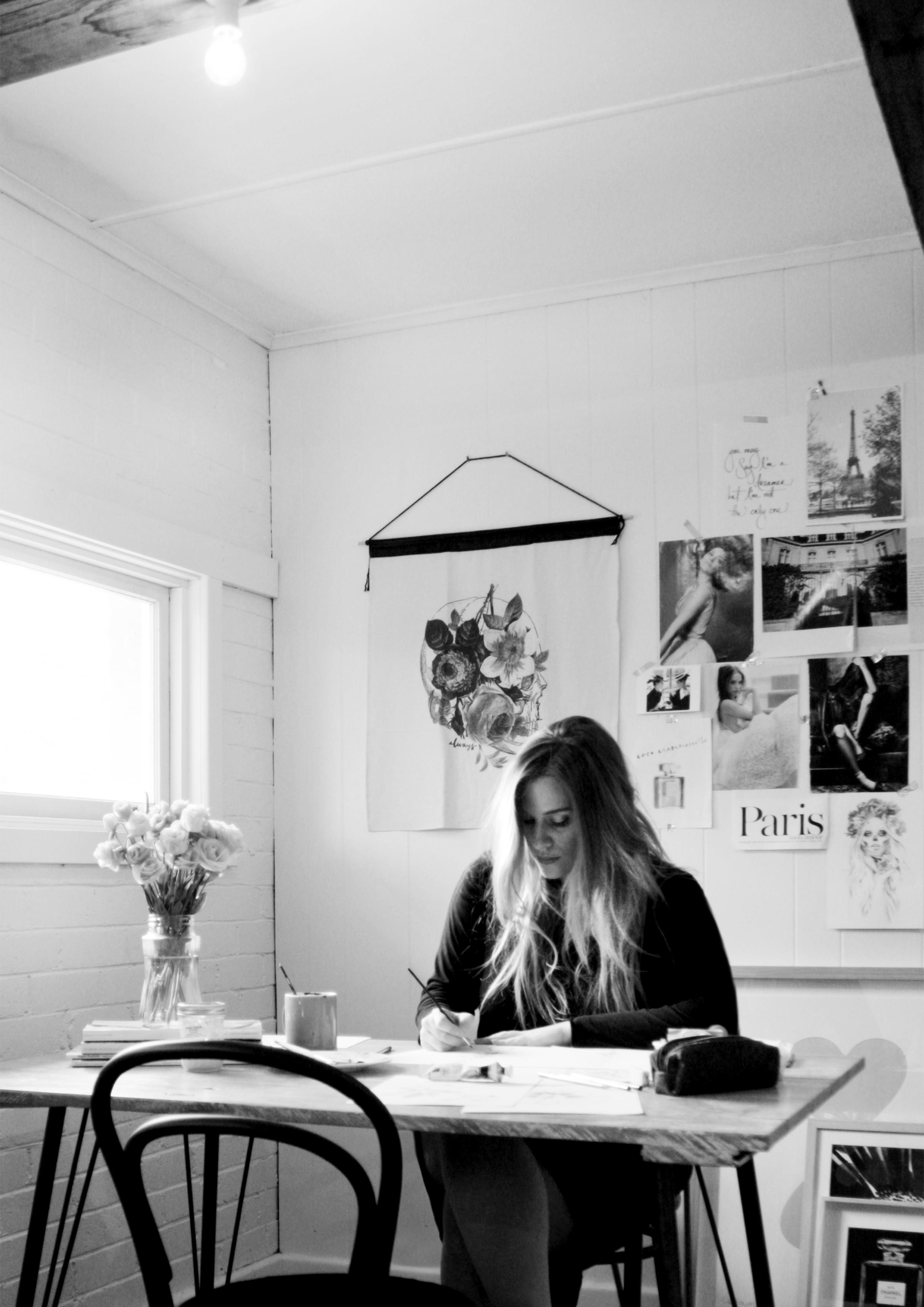 ILLUSTRATOR: Kelly Smith, in her studio in Tasmania, Australia.