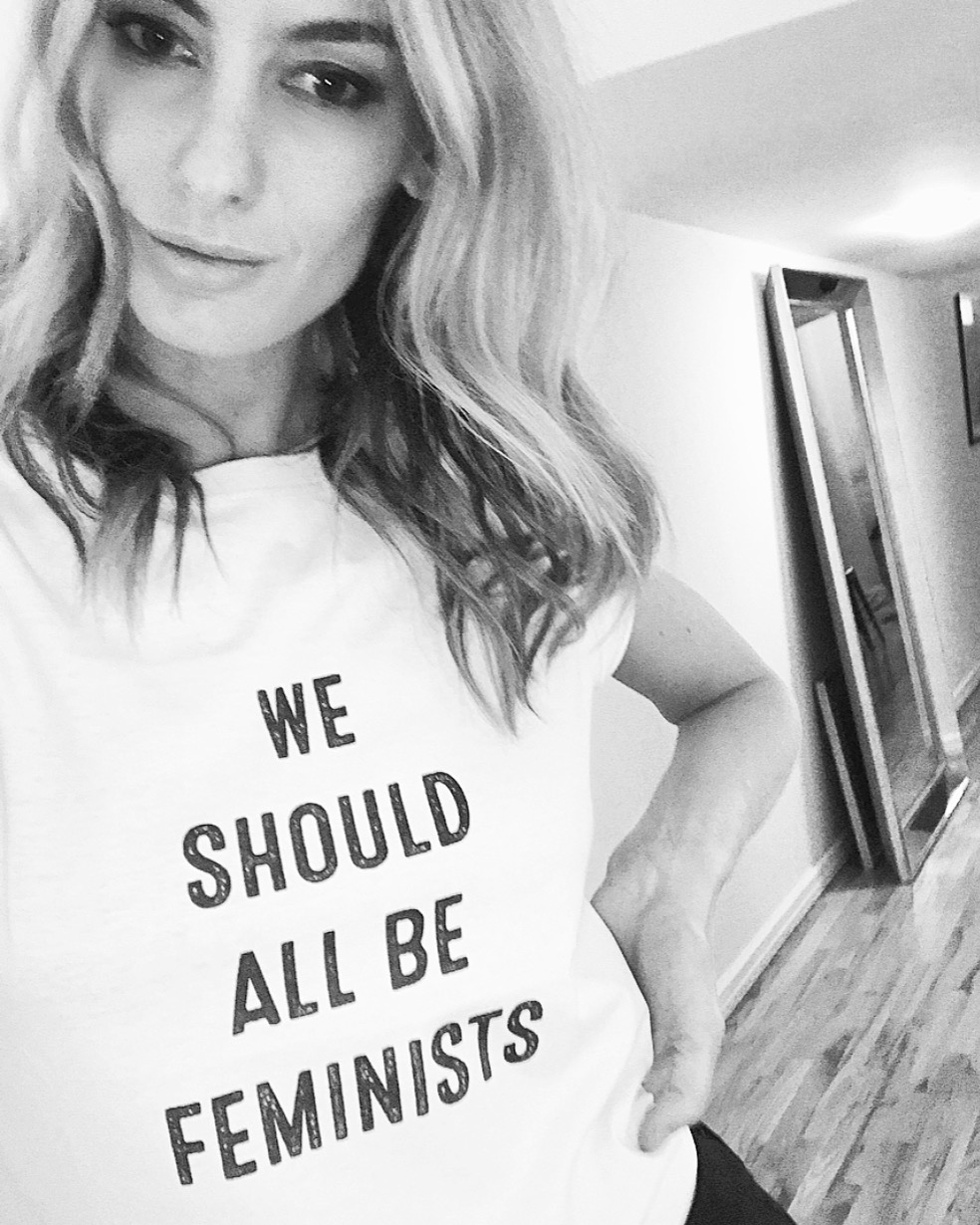 Me and my new t-shirt, which says; 'We Should All Be Striving For The Political, Economic, And Social Equality Of The Sexes.