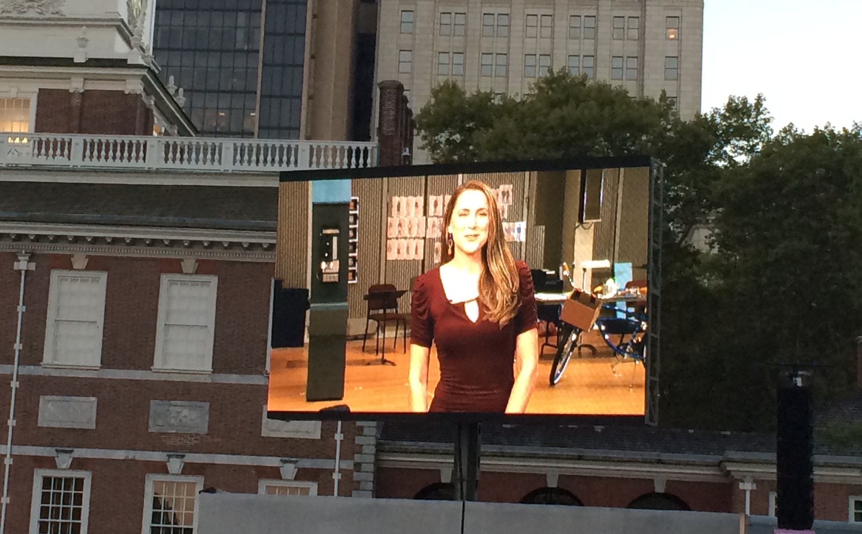 "On the big screen at Opera Philadelphia's ""Opera on the Mall"" screening of ""Barbiere"""