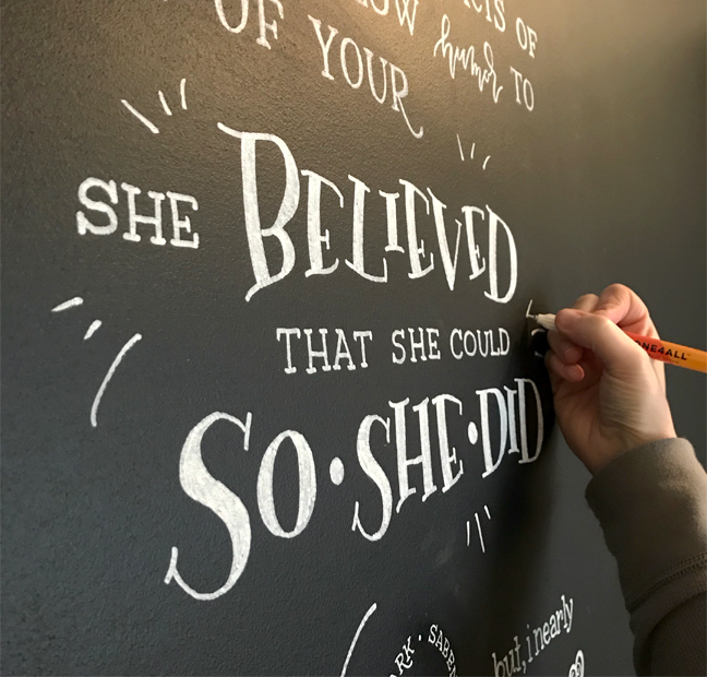 Chalkboard installation in client's home