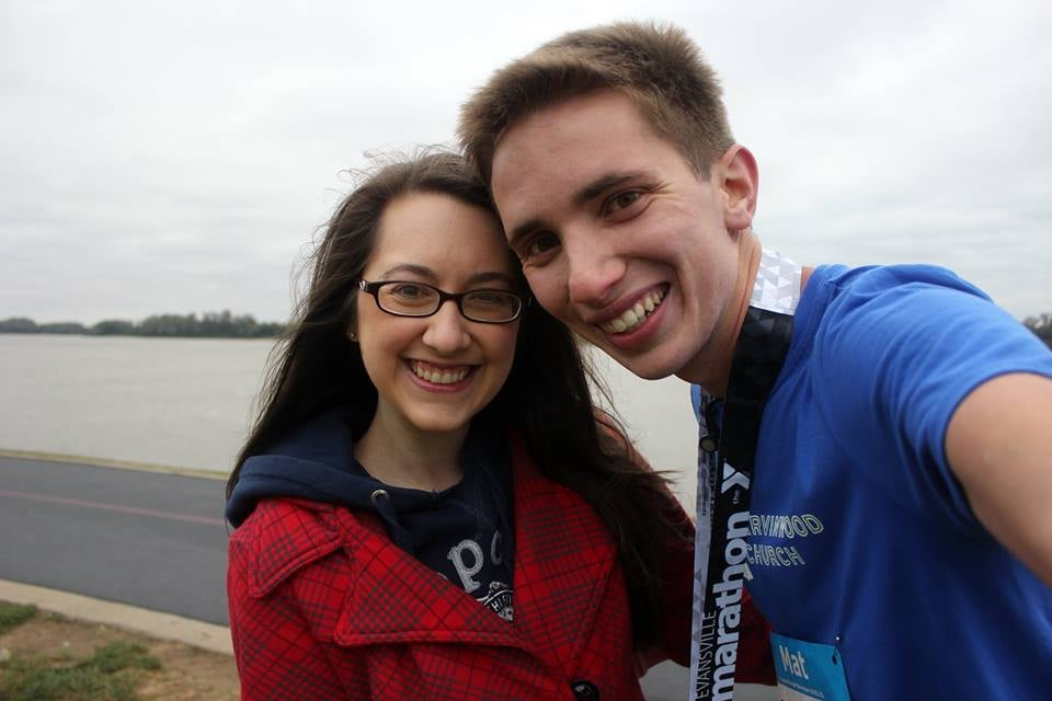 Mat and Mal following the 2015 Evansville Half Marathon.