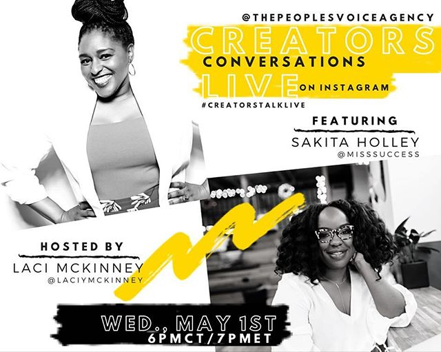"""Creators Conversations Live hosted by @laciymckinney of The People's Voice Creative Agency @thepeoplesvoiceagency kicks off on May 1st  6pm CT/ 7pm ET featuring Sakita Holley of House of Success PR. Creators Conversation Live will feature dope creatives from around the world giving us a chance to share a little knowledge about entrepreneurship, life, and everything in between.  Join us for an authentic conversation on as @misssuccess will share her perspective on """"Giving Up Is Not An Option"""". We can't wait to talk to this PR Powerhouse!  Mark your calendars for May 1st at 6 pm CT/7pm ET as we go live on IG and invite you into the conversation! #CreatorsTalkLive"""