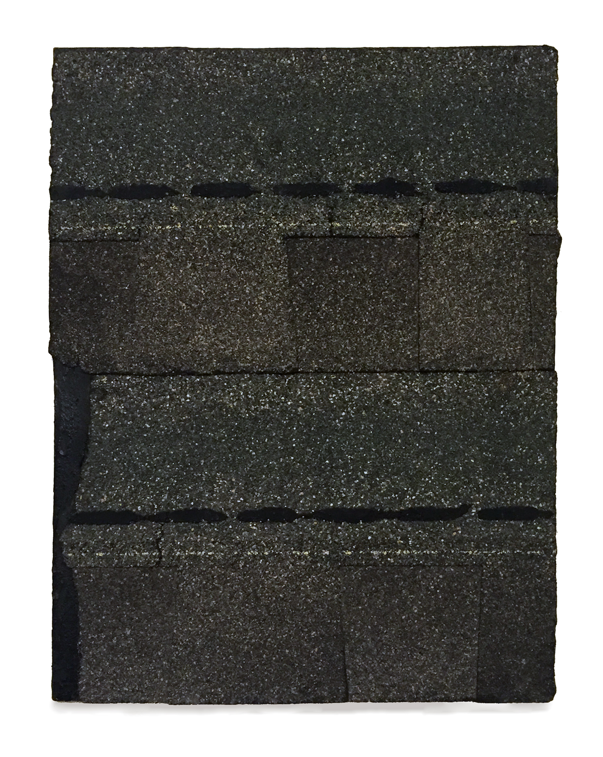 """Work on Canvas, 2013, roofing tar and shingles on canvas, 24"""" x 18"""""""