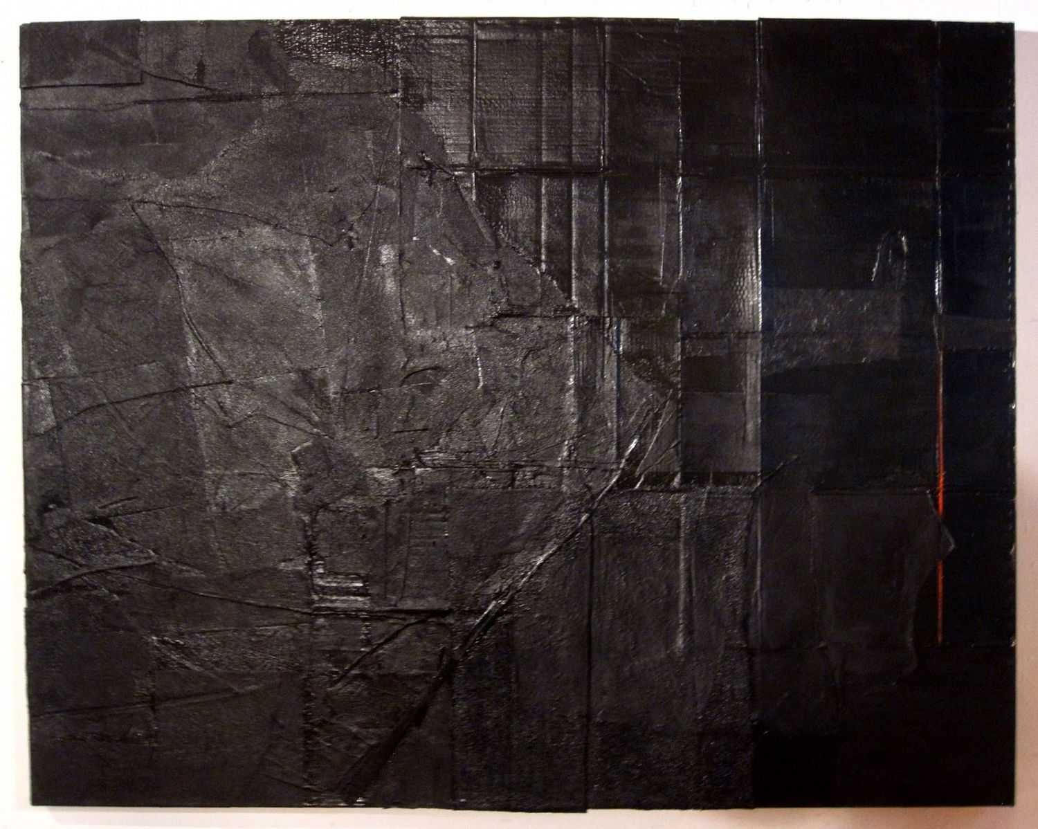 "Large Black with Red Vertical, 2013, acrylic, cardboard, fabric and wood on canvas, 60"" x 76"""