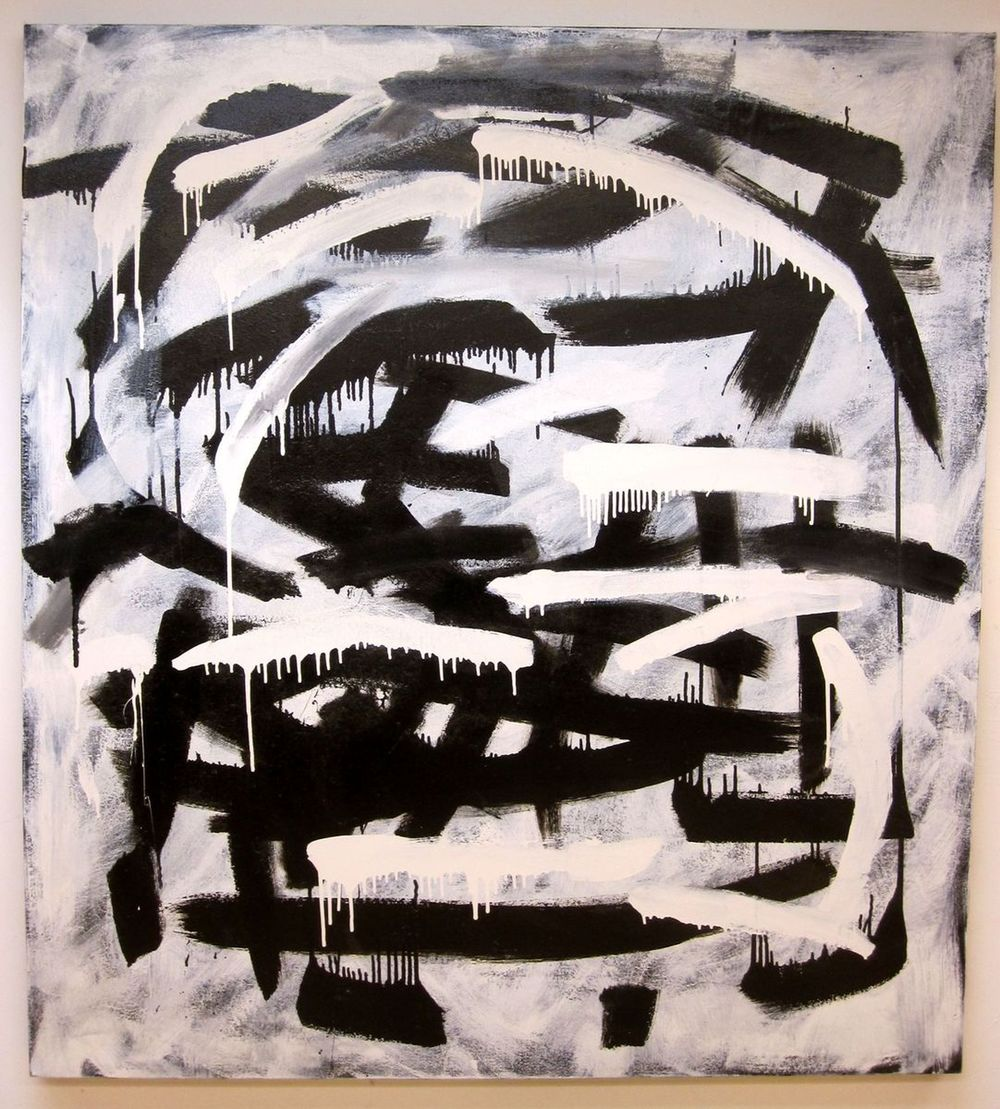 "Gestural Black & White #3, 2013, enamel on canvas, 62"" x 56"""