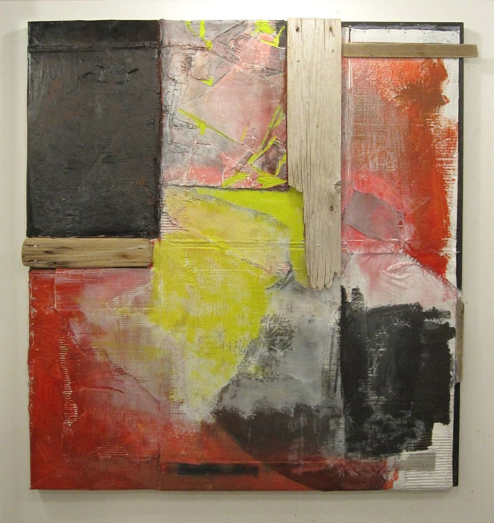 "Untitled (Painting / Assemblage 4), 2012, acrylic, fabric, charcoal, and wood on carboard over canvas frame, 52"" x 50"""