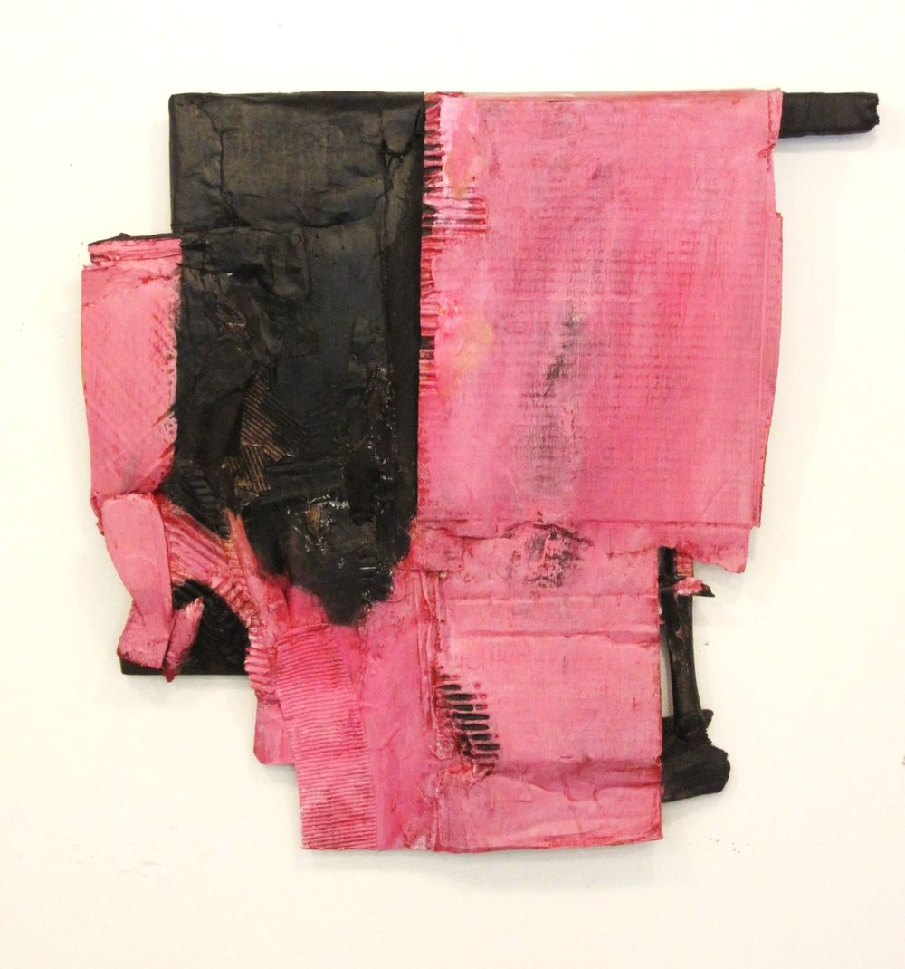 "Pink and Black Construction, 2011, acrylic, cardboard, fabric, wood, 32"" x 30"""